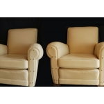 Pair of leather club  chairs beige full grain leather  30's
