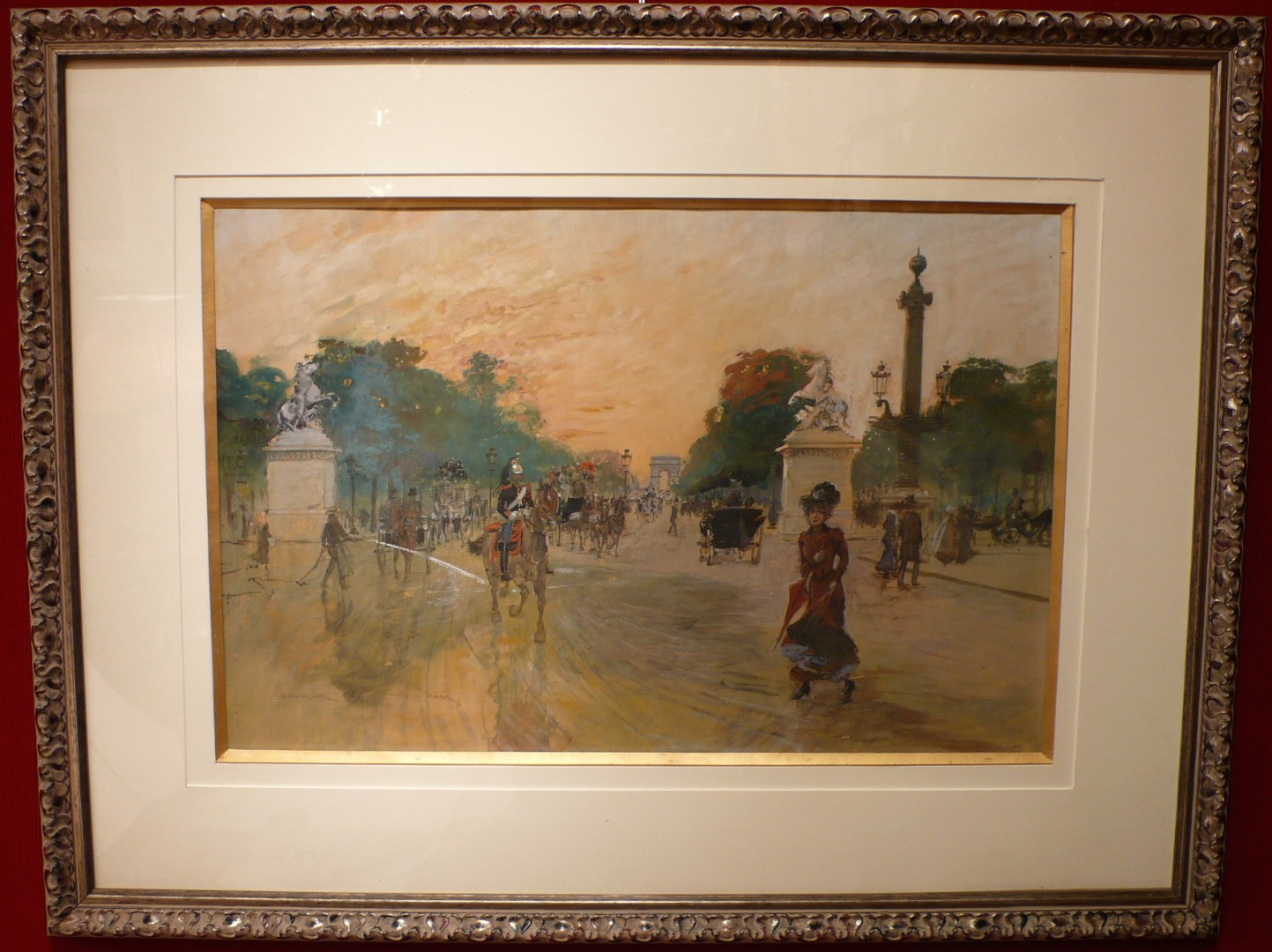 STEIN GEORGES PAINTING BEGINNING 20Th CENTURY VIEW OF PARIS THE CHAMPS-ELYSÉES TOWARDS THE TRIUMPHAL ARCH WATERCOLOR SIGNED
