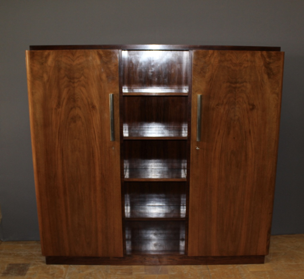 Art Deco Period Library In Walnut And Rosewood