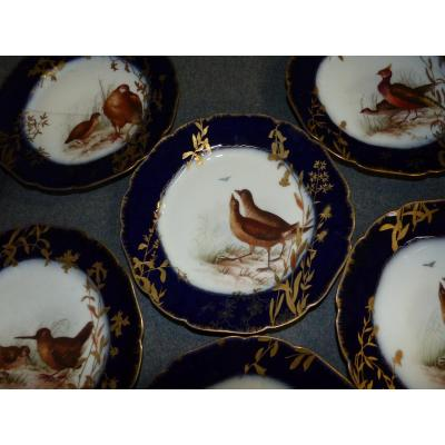 XIX th Serie of Six Plates in Porcelain blue oven and Gold Ornithology Haviland Limoges .musee D Orsay birds decor hand painted