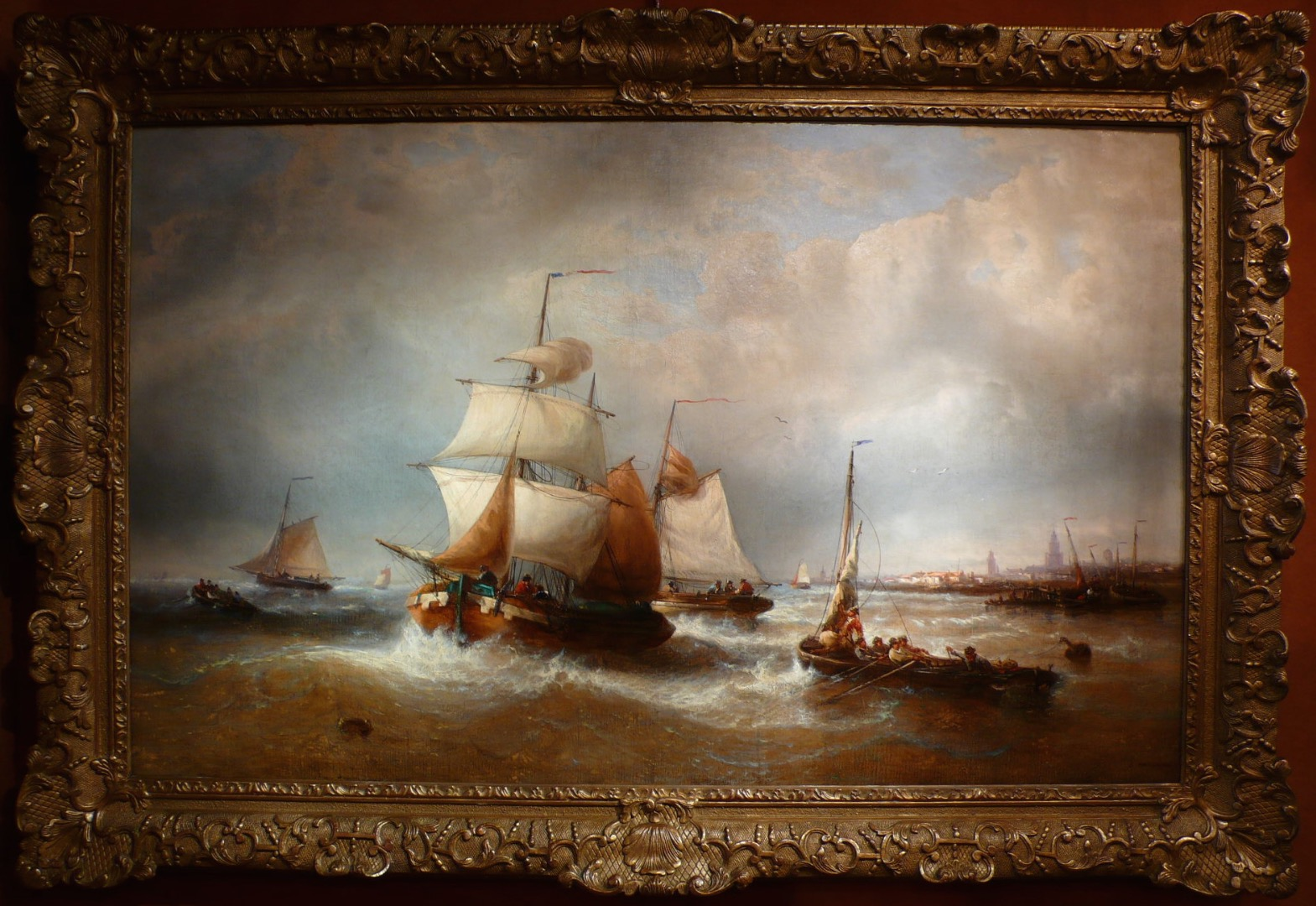 MUSIN François Belgian school 19Th century Navy Ships leaving the harbour Painting XIXTh Oil on canvas signed