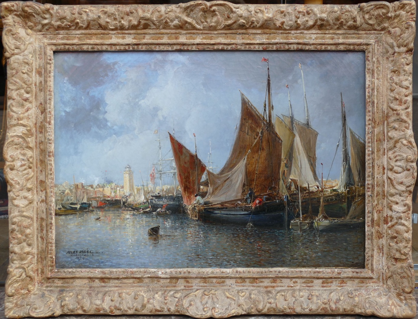 NOEL JULES FRENCH ANCIENT PAINTING 19Th CENTURY HARBOUR IN NORMANDIE OIL ON CANVAS SIGNED AND DATED