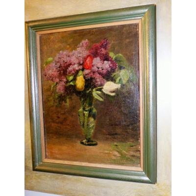 Table Oil On Canvas Jean Desbrosses Louvre Orsay bouquet of flowers