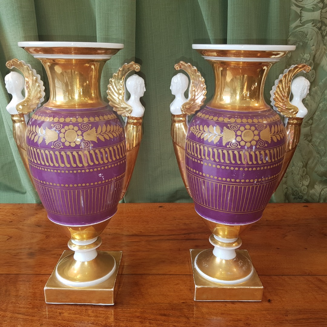 Pair Of Porcelain Vases From Paris Beginning Of The XIXth Century.