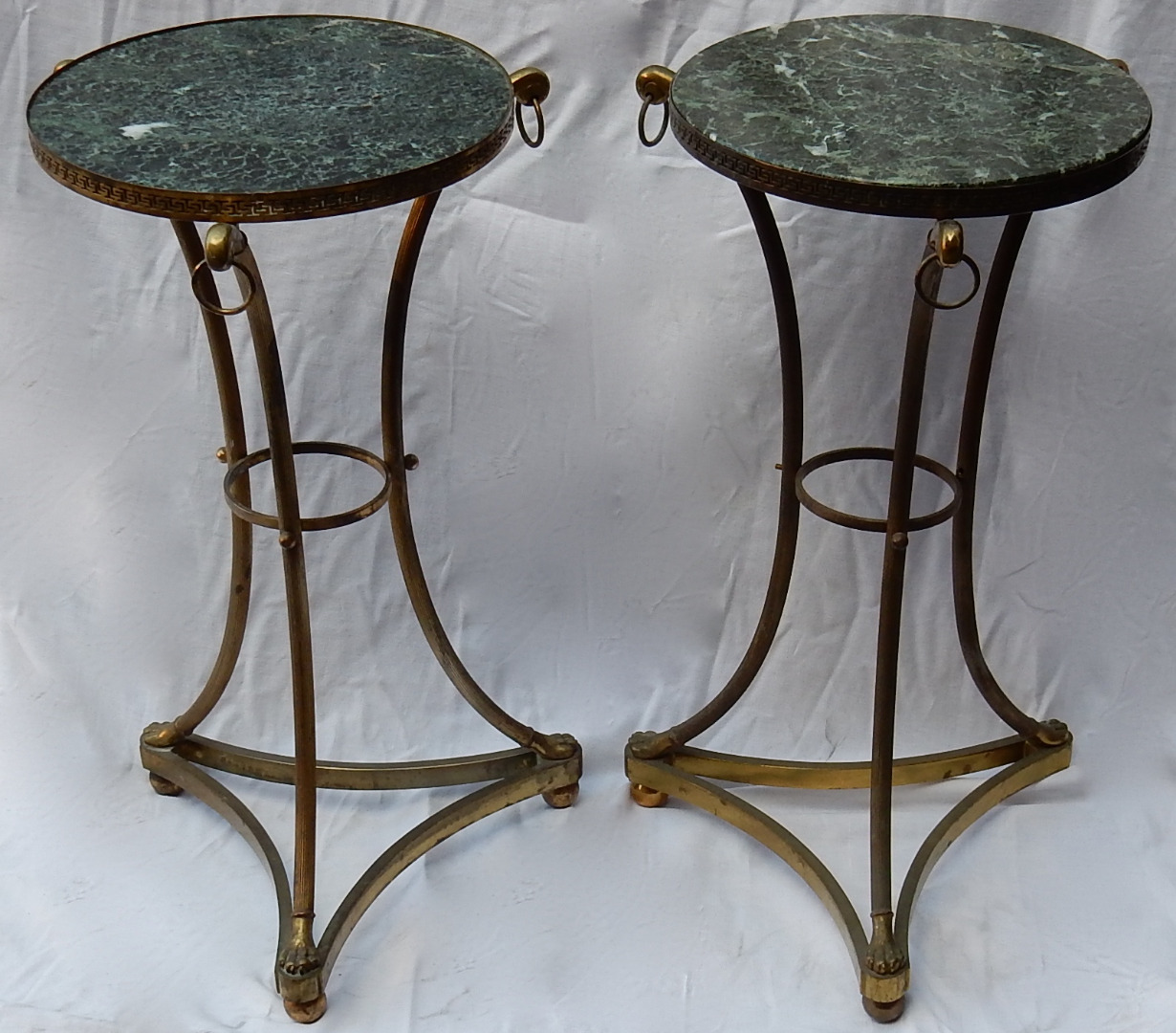 1950/70 Pedestal Table in Gilt Bronze With Top in Green Marble