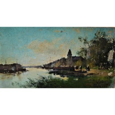 Jacques Liévin Pseudonym of Eugène Galien Laloue Animated landscape Impressionist painting oil on canvas hst late nineteenth and early twentieth impressionism Jacques Lievin Eugene Galien Laloue