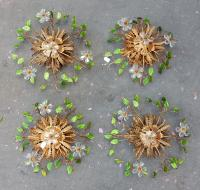 1970' 4 Ceiling Light or Wall Lamp with Flowers and Leaves in the Style of Maison Bagués With Green Color Leaves