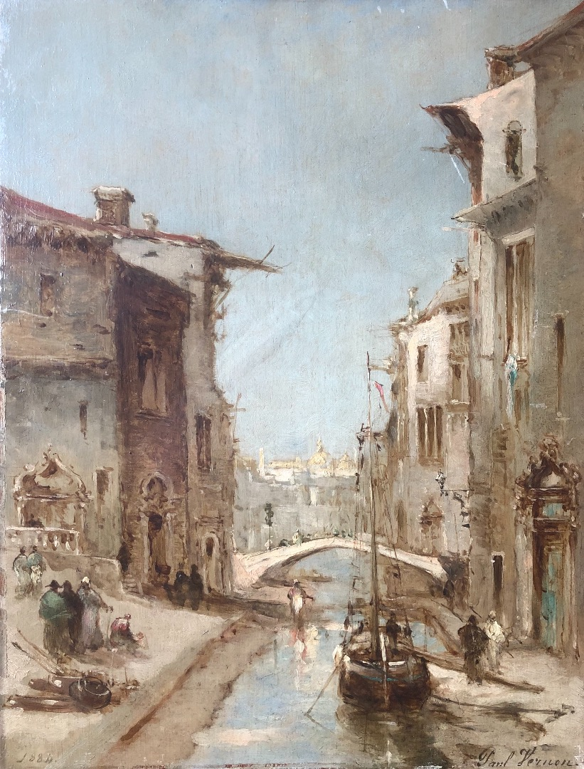 VERNON Paul Painting 19th century Canal in Venice Oil on panel signed