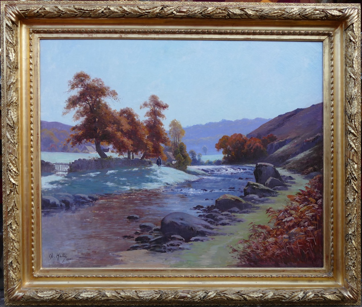 HALLE Charles Painting landscape 20th Century Crozant School Creuse Landscape Oil on canvas signed