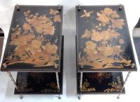 1950 ' Pair of Tables Maison Bagués Bronze Style Bamboo Golden With Trays Lacquers of China