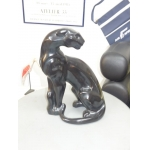 Large Black Panther Ceramic glazed usa art deco style twentieth American