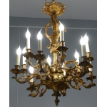 Chandelier 19Th century gilt bronze style Rocaille, 12 lights