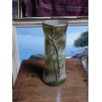 Art Nouveau Vase Enamelled Glass Pate Octagonal Neck