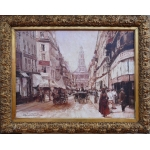Leon ZEYTLINE Russian School 20Th Century Chaussée d'Antin street Oil on canvas signed