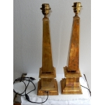 1970 ' Pair of Lamps Obelisks in Brass