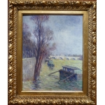 LUCE Maximilien Post-Impressionist painting early 20Th century Paris, floods near Pont Neuf circa 1910 Oil on canvas mounted on cardboard
