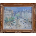 BERTIN Roger French School 20th century Paris La Place de Clichy Oil on canvas signed Ancient Michou collection