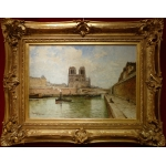 FRANK BOGGS American School 19Th Century Paris Notre Dame and La Seine Oil on canvas signed situated and dated
