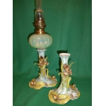 ART NOUVEAU SAXE PORCELAIN PETROL LAMP AND VASE