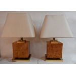 1950/70 'Pair Of Art Deco Lamps Golden Brass And Speckled Maple Magnifier