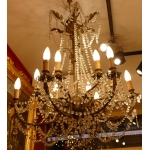 CHANDELIER ANCIENT LATE 19TH CENTURY IN BRONZE HAVING PRESERVED ITS ANCIENTS GAS ENTRANCES ( EQUIPED WITH ELECTRICITY ) 12 LIGHTS