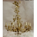 1880 'Gilt Bronze Chandelier Floral Decor 12 Bulbs